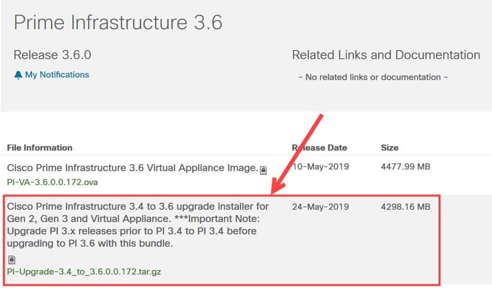 Cisco.com - Fichier de mise à jour vers Prime Infrastructure 3.6